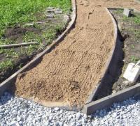 Укладка тротуарной плитки с песчаной основанием